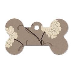 Flower Floral Black Grey Rose Dog Tag Bone (two Sides) by Mariart