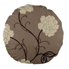 Flower Floral Black Grey Rose Large 18  Premium Round Cushions by Mariart