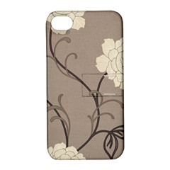 Flower Floral Black Grey Rose Apple Iphone 4/4s Hardshell Case With Stand by Mariart