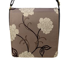 Flower Floral Black Grey Rose Flap Messenger Bag (l)  by Mariart