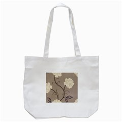 Flower Floral Black Grey Rose Tote Bag (white) by Mariart