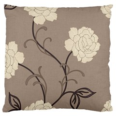 Flower Floral Black Grey Rose Large Flano Cushion Case (one Side) by Mariart