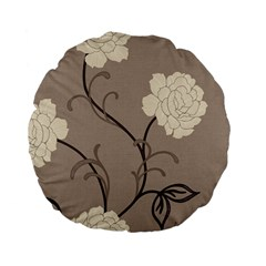 Flower Floral Black Grey Rose Standard 15  Premium Flano Round Cushions by Mariart