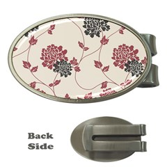 Flower Floral Black Pink Money Clips (oval)  by Mariart