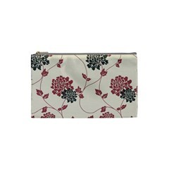 Flower Floral Black Pink Cosmetic Bag (small)  by Mariart