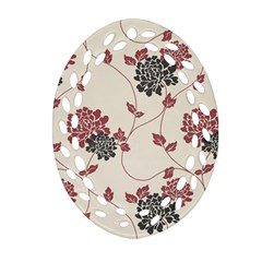 Flower Floral Black Pink Oval Filigree Ornament (two Sides) by Mariart