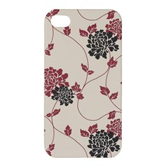 Flower Floral Black Pink Apple Iphone 4/4s Premium Hardshell Case by Mariart
