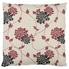 Flower Floral Black Pink Large Cushion Case (two Sides) by Mariart