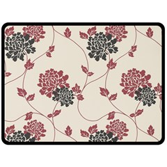 Flower Floral Black Pink Double Sided Fleece Blanket (large)  by Mariart