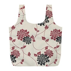 Flower Floral Black Pink Full Print Recycle Bags (l)  by Mariart