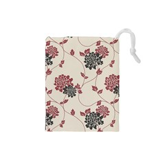 Flower Floral Black Pink Drawstring Pouches (small)  by Mariart
