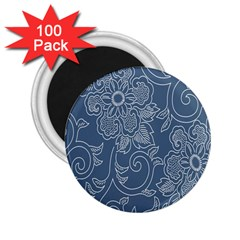 Flower Floral Blue Rose Star 2 25  Magnets (100 Pack)  by Mariart
