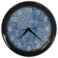 Flower Floral Blue Rose Star Wall Clocks (black) by Mariart