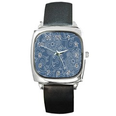 Flower Floral Blue Rose Star Square Metal Watch by Mariart