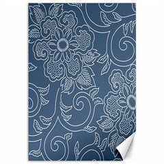 Flower Floral Blue Rose Star Canvas 12  X 18   by Mariart