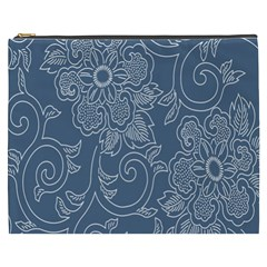 Flower Floral Blue Rose Star Cosmetic Bag (xxxl)  by Mariart