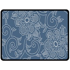 Flower Floral Blue Rose Star Double Sided Fleece Blanket (large)  by Mariart
