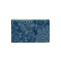 Flower Floral Blue Rose Star Cosmetic Bag (xs) by Mariart