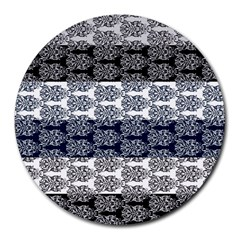 Digital Print Scrapbook Flower Leaf Colorgray Black Purple Blue Round Mousepads by Mariart