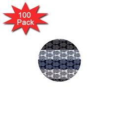 Digital Print Scrapbook Flower Leaf Colorgray Black Purple Blue 1  Mini Buttons (100 Pack)  by Mariart