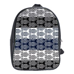 Digital Print Scrapbook Flower Leaf Colorgray Black Purple Blue School Bags (XL)  by Mariart