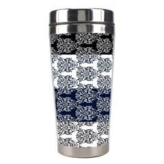 Digital Print Scrapbook Flower Leaf Colorgray Black Purple Blue Stainless Steel Travel Tumblers by Mariart