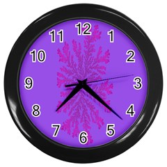Dendron Diffusion Aggregation Flower Floral Leaf Red Purple Wall Clocks (black) by Mariart