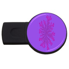 Dendron Diffusion Aggregation Flower Floral Leaf Red Purple Usb Flash Drive Round (4 Gb) by Mariart
