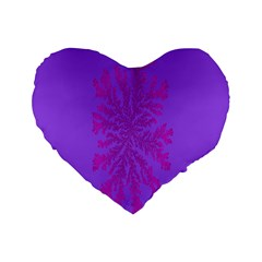 Dendron Diffusion Aggregation Flower Floral Leaf Red Purple Standard 16  Premium Flano Heart Shape Cushions by Mariart