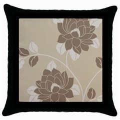 Flower Floral Grey Rose Leaf Throw Pillow Case (black) by Mariart