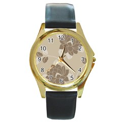 Flower Floral Grey Rose Leaf Round Gold Metal Watch by Mariart