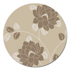 Flower Floral Grey Rose Leaf Magnet 5  (round) by Mariart