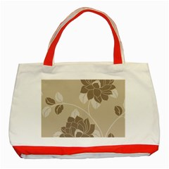 Flower Floral Grey Rose Leaf Classic Tote Bag (red) by Mariart