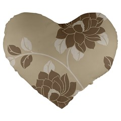 Flower Floral Grey Rose Leaf Large 19  Premium Heart Shape Cushions by Mariart