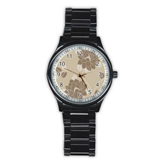 Flower Floral Grey Rose Leaf Stainless Steel Round Watch by Mariart