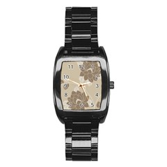 Flower Floral Grey Rose Leaf Stainless Steel Barrel Watch by Mariart