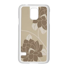 Flower Floral Grey Rose Leaf Samsung Galaxy S5 Case (white) by Mariart