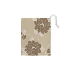 Flower Floral Grey Rose Leaf Drawstring Pouches (xs)  by Mariart