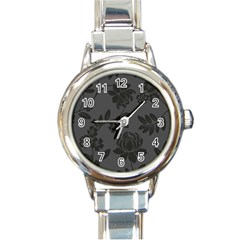 Flower Floral Rose Black Round Italian Charm Watch by Mariart