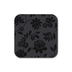 Flower Floral Rose Black Rubber Square Coaster (4 Pack)  by Mariart