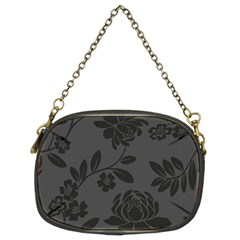 Flower Floral Rose Black Chain Purses (two Sides)  by Mariart