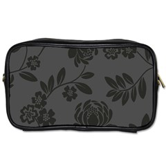 Flower Floral Rose Black Toiletries Bags 2 Side by Mariart