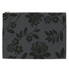 Flower Floral Rose Black Cosmetic Bag (xxl)  by Mariart