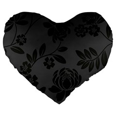 Flower Floral Rose Black Large 19  Premium Heart Shape Cushions by Mariart