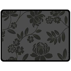 Flower Floral Rose Black Double Sided Fleece Blanket (large)  by Mariart