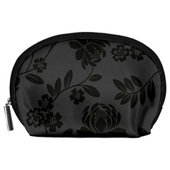 Flower Floral Rose Black Accessory Pouches (large)  by Mariart