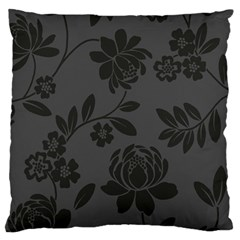 Flower Floral Rose Black Large Flano Cushion Case (one Side) by Mariart