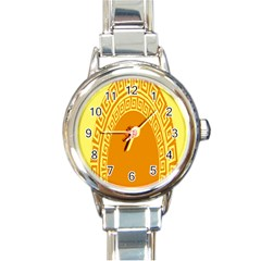 Greek Ornament Shapes Large Yellow Orange Round Italian Charm Watch by Mariart
