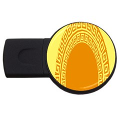 Greek Ornament Shapes Large Yellow Orange Usb Flash Drive Round (2 Gb) by Mariart