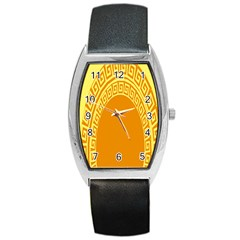 Greek Ornament Shapes Large Yellow Orange Barrel Style Metal Watch by Mariart